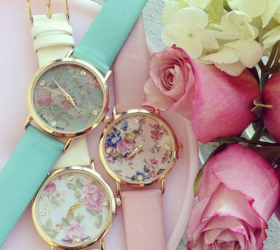 vintage roses print watch floral watch rose flower by creamellowph, $28.90