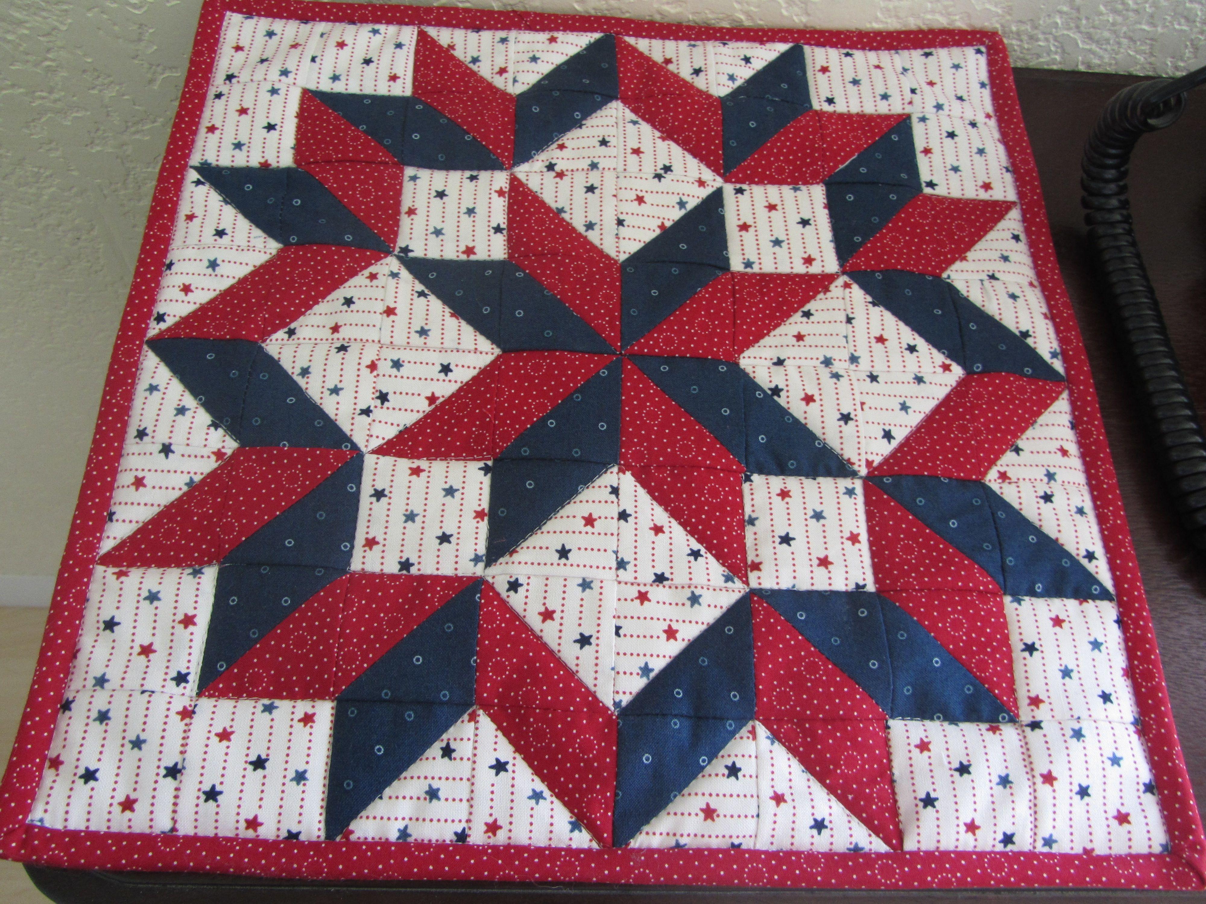 """Patriotic Carpenter Star measuring 12"""" square with 112 pieces."""