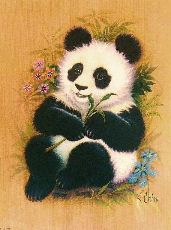 Panda Bear Cub 70s Children Print Illustration Vintage
