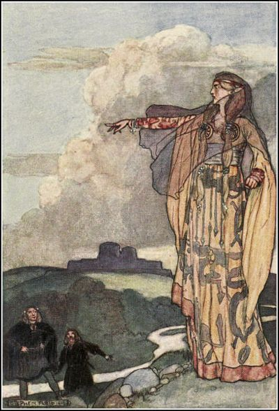 "Stephen Reid, ""Macha Curses the Men of Ulster,"" from Eleanor Hull's The Boys' Cuchulainn, 1904 ""Macha, daughter of Ernmas, of the T..."