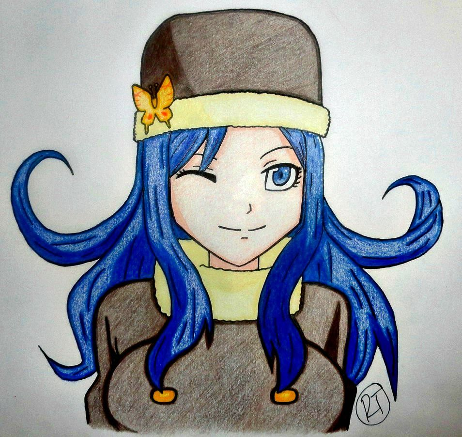Finally finished! Juvia Lockser from Fairy Tail. Used prismacolor colored pencils and a sharpie for outlining. :) (Drawn for unicornbars7)!