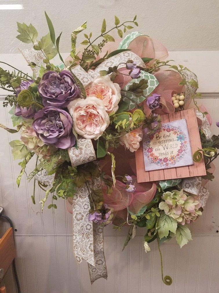 Spring Door Wreath Grapevine Wreath Lavender And Blush