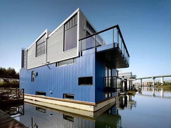 400 000 Houseboat Built Atop A Solid Concrete Barge Home Crux Floating House House Boat House