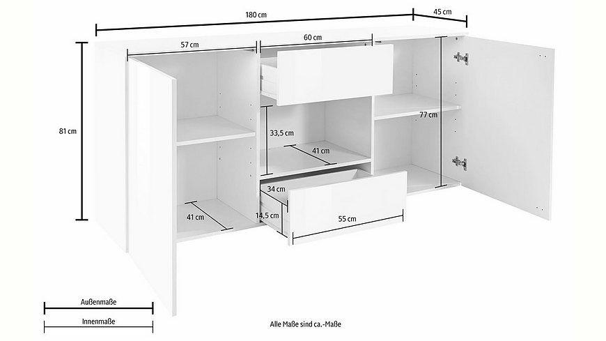 Tecnos Sideboard, Breite 180 cm Jetzt bestellen unter: https://moebel.ladendirekt.de/wohnzimmer/schraenke/sideboards/?uid=1b701a80-0aae-53fb-90d2-967145b8af2e&utm_source=pinterest&utm_medium=pin&utm_campaign=boards #schraenke #wohnzimmer #sideboards