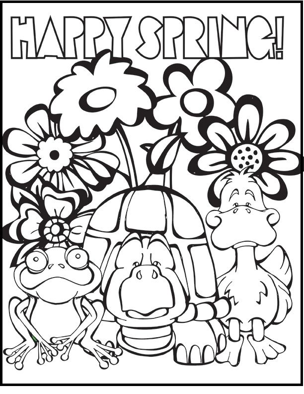 animals happy spring day coloring picture for kids spring. Black Bedroom Furniture Sets. Home Design Ideas