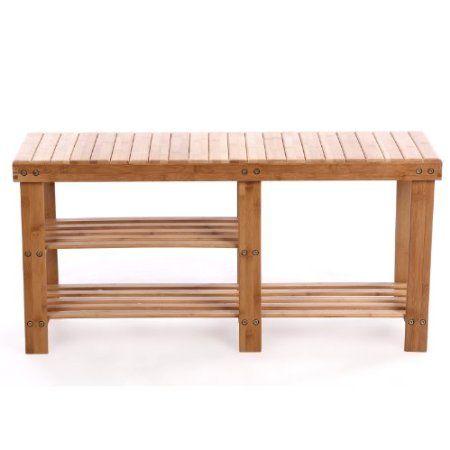 songmics 2 tier natural bamboo shoe rack bench storage. Black Bedroom Furniture Sets. Home Design Ideas