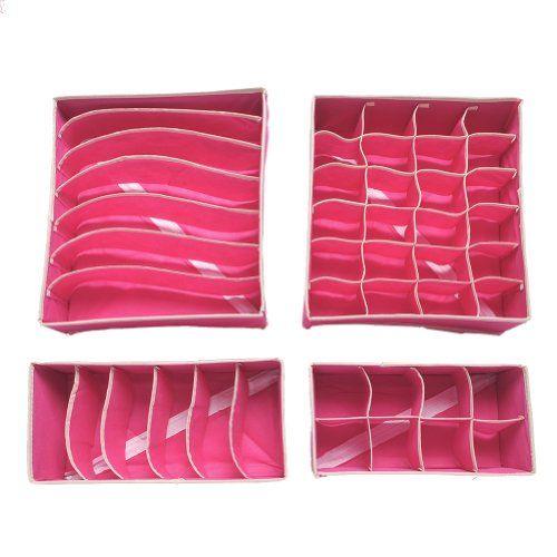 bo te stockage de rangement pour les sous v tements les soutien gorges 2 couleurs rose beige. Black Bedroom Furniture Sets. Home Design Ideas