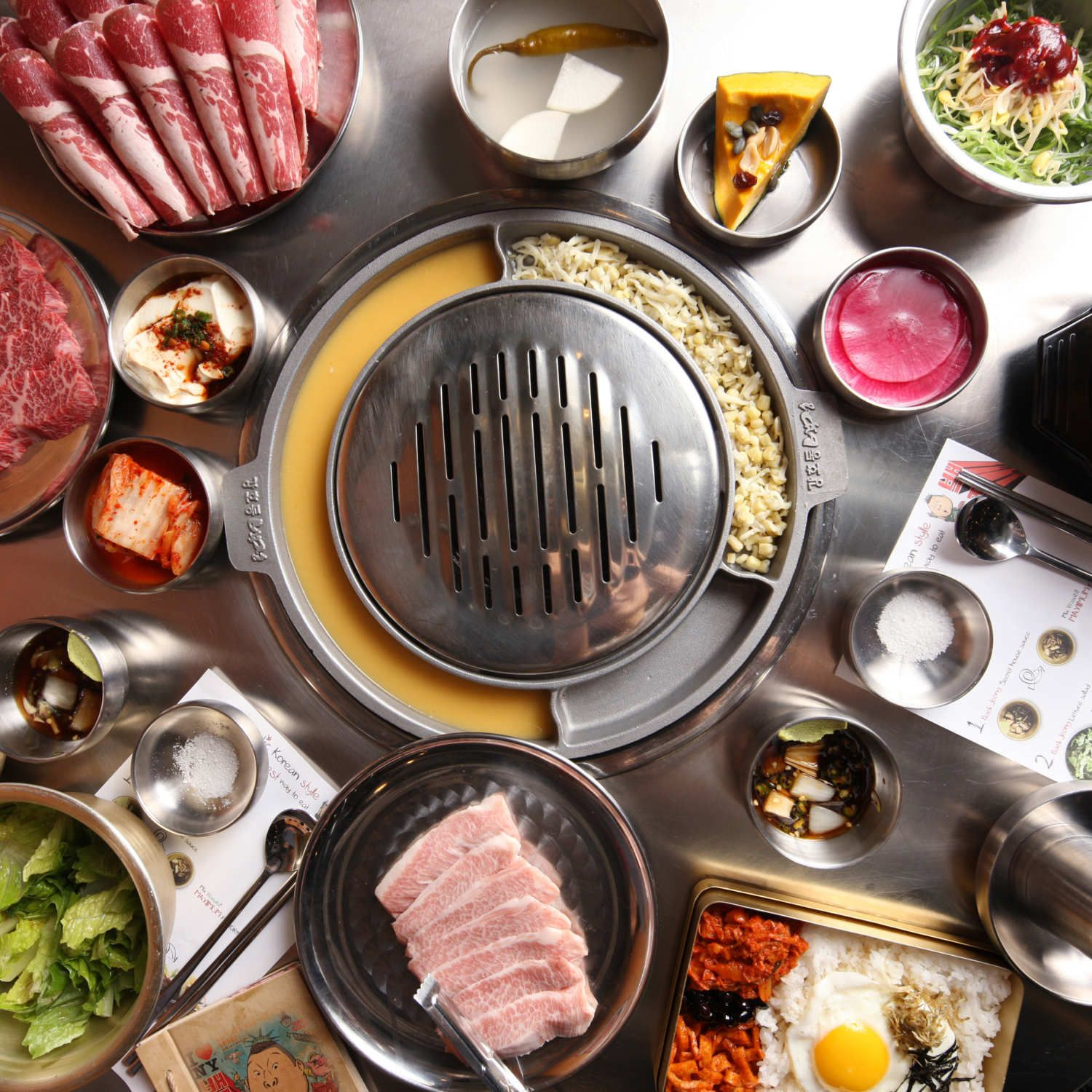 Here S Everything On The Table At Korean Barbecue Spot Kang Ho Dong Baekjeong Food Healthy Food Delivery Korean Bbq