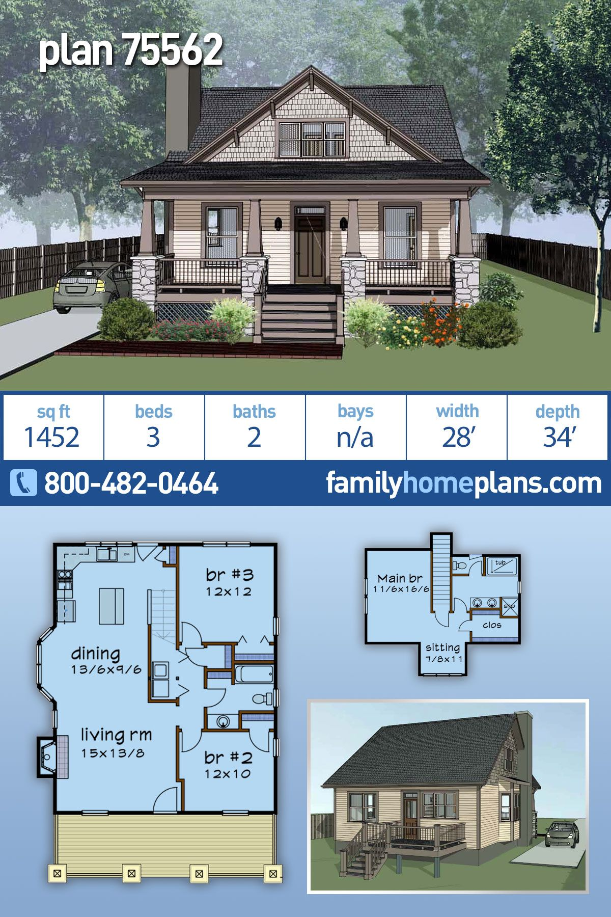 Craftsman Style House Plan 75562 With 3 Bed 2 Bath In 2020 Craftsman Style House Plans Craftsman House Plans Cottage House Plans
