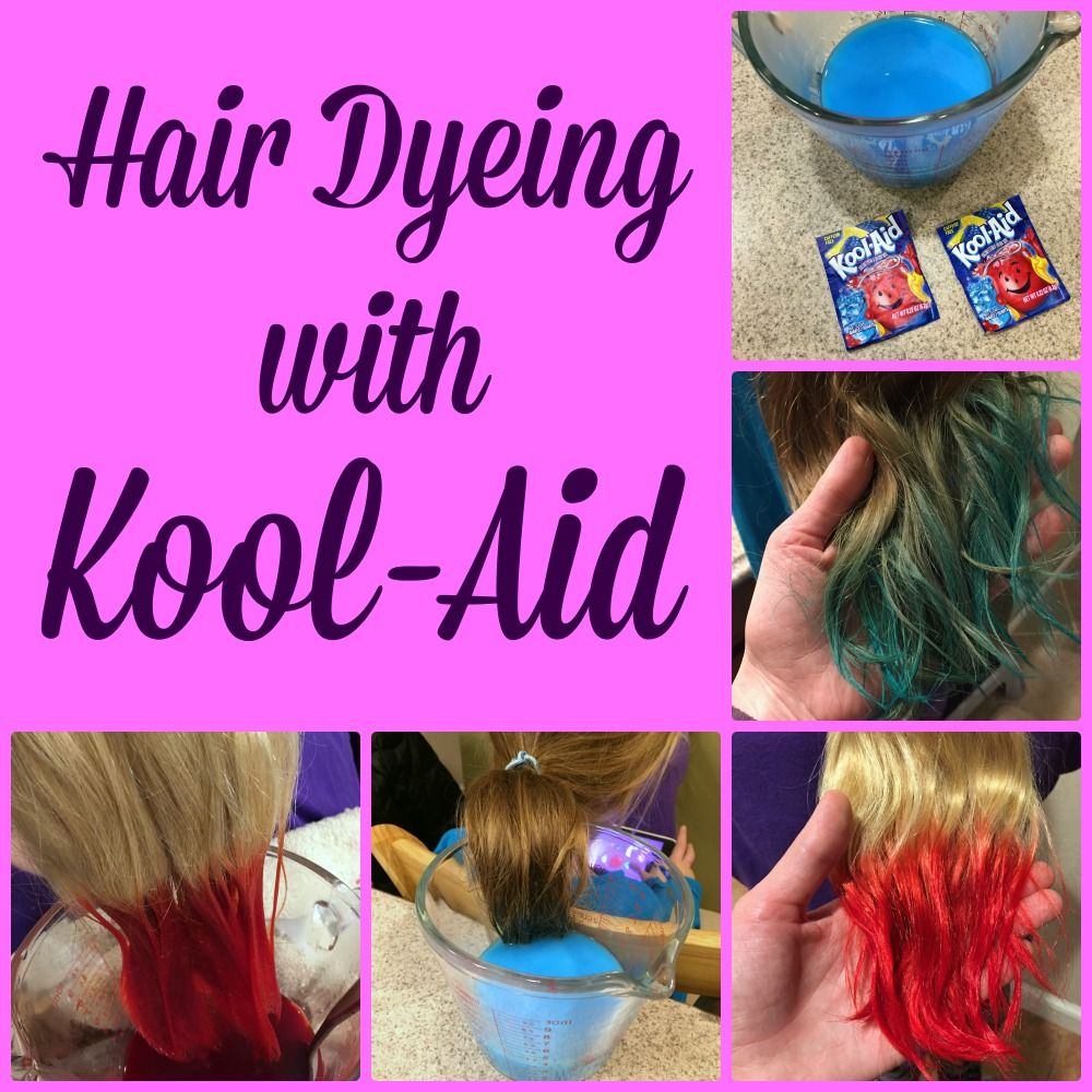 Last Year My Daughter And Her Friend Decided They Wanted To Dye Their Hair With Kool Aid And While It Was Kool Aid Hair Dye Kool Aid Hair Hair Dye