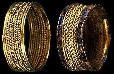 Two of Pu-abi's gold rings: When found, she was wearing ten rings on her fingers.    Ur Royal Cemetry - 2600 B.C.