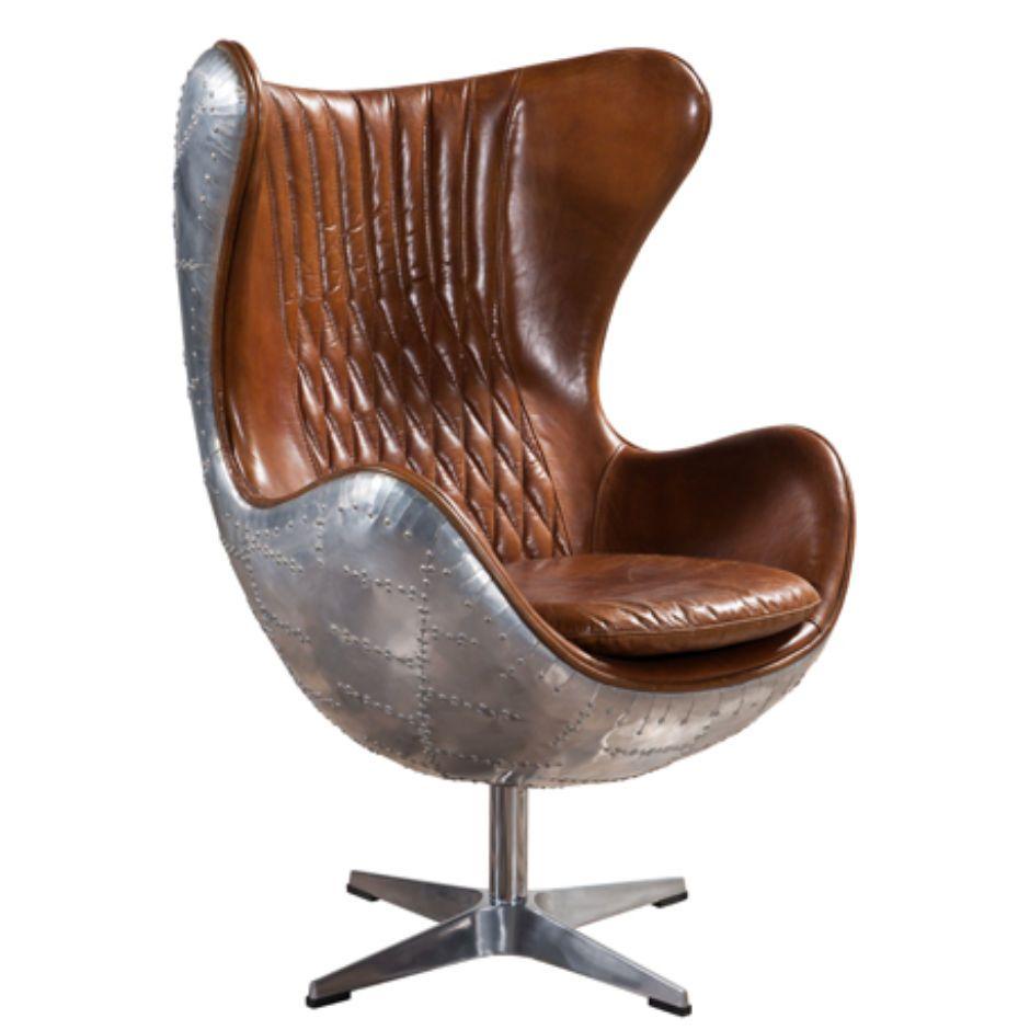 Aviator retro swivel egg aluminium distressed leather