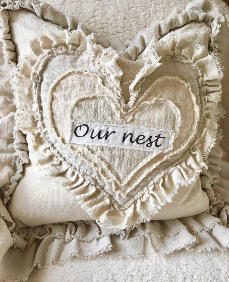 Custom Pillow Cover with Rustic Ruffles,Heart Pillow,French Country Bedding,Boho Decor,Farmhouse bed