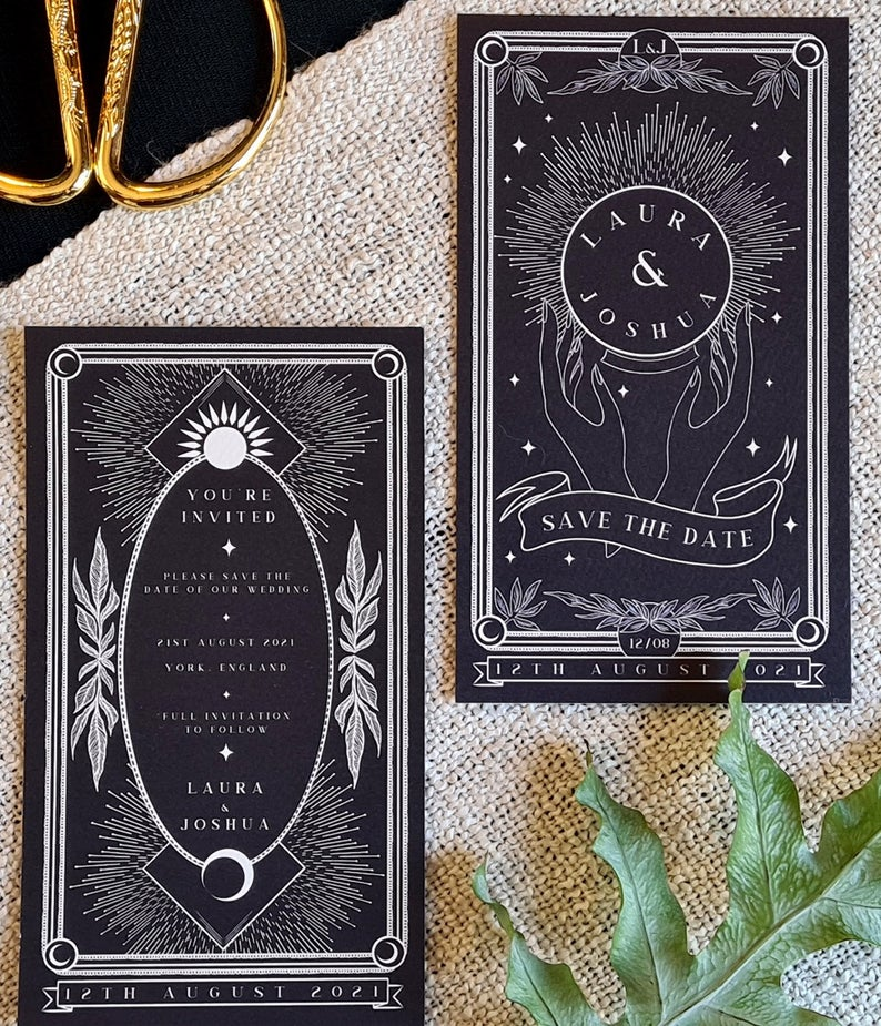Personalised Save the Date card for Wedding /& Events Unique Tarot Card Save the Date
