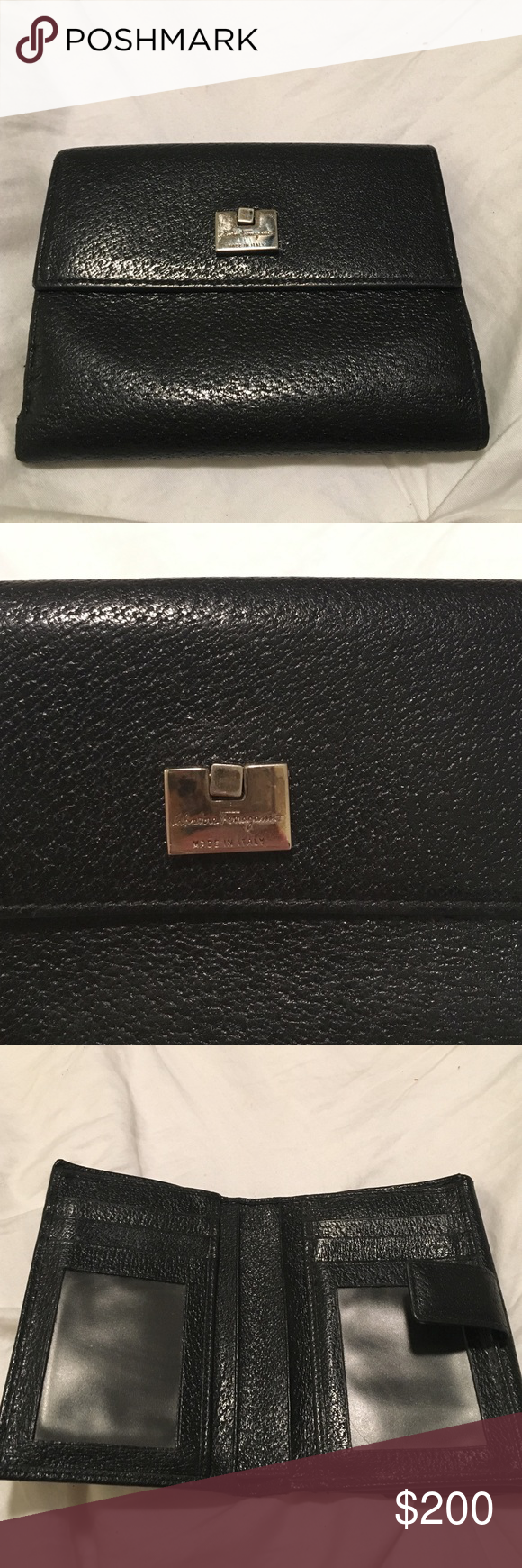 Salvatore Ferragamo black wallet. Black wallet with silver hardware. Scratches on the silver hardware as can be seen from the picture. Wallet has change pouch on one side and credit card slots on the other side. I do not have the box for this item. Authentic. Salvatore Ferragamo Bags Wallets