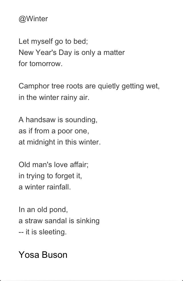 A Personal Favorite From Yosa Buson Or K 1716 1784 Along With Matsuo Basho And Kobayashi Issa Haiku Poetry Poem Japanese An Old Man Winter Night Paraphrase