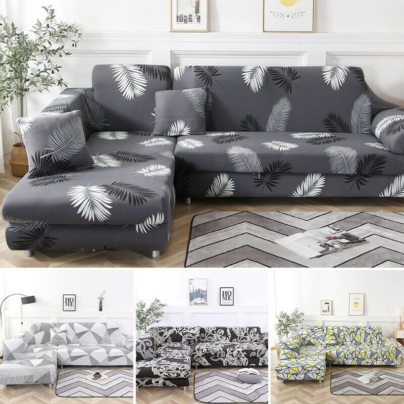 New Modern Stretch Elastic Fabric Sofa Cover Sectional Corner L Shape Slipcovers In 2020 Fabric Sofa Cover Sofa Covers Slipcovers