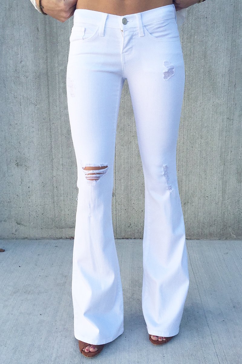 The Britt Distressed White Flare Jeans | Jeans | Pinterest | Them ...
