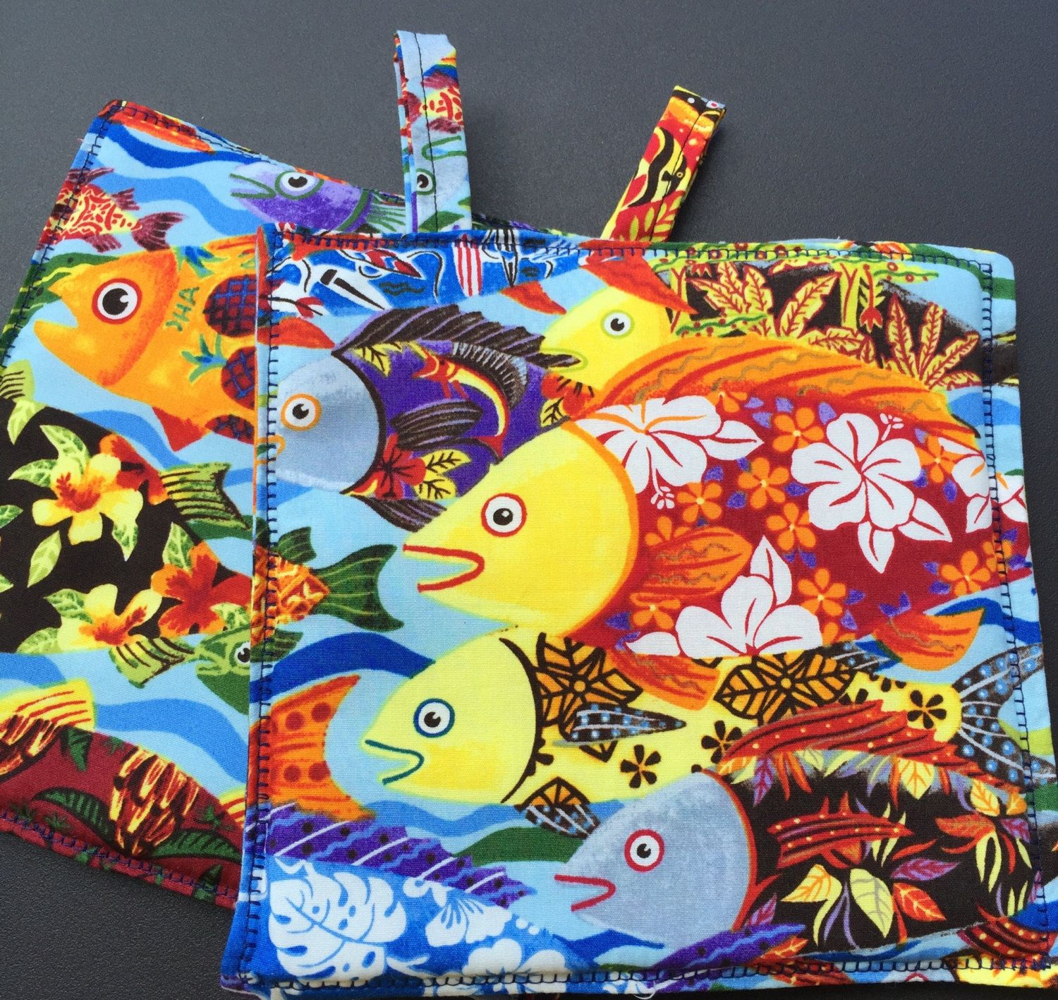 Pot holders, oven mitts, made in Hawaii, oven gloves, handmade, hot pads, cooking mitts, linens, Hawaiian, holders, home décor, hostess gift by StitchesSayItBest on Etsy