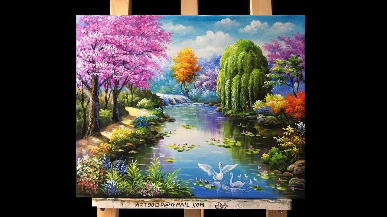 Beautiful Gardens And Flowers Acrylic Painting Youtube Nature Paintings Acrylic Landscape Paintings Acrylic Landscape Painting Tutorial