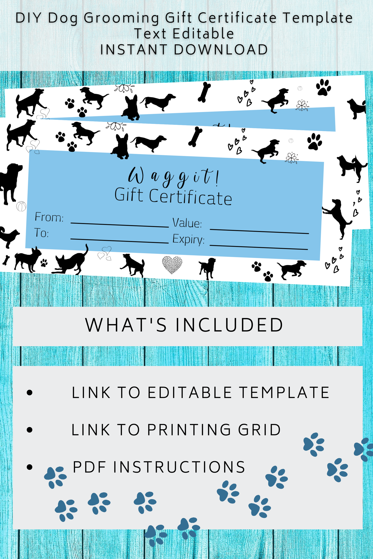Gift Certificate Template Dog Grooming Diy Gift Voucher For Etsy Certificate Templates Gift Certificate Template Templates