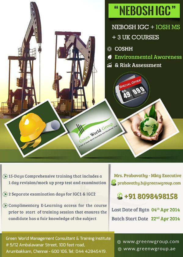 Green World Group Flexible Offers For Nebosh Course In Chennai