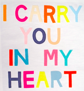 I Carry You In My Heart Embroidered Art Print Wedding PoemsOur