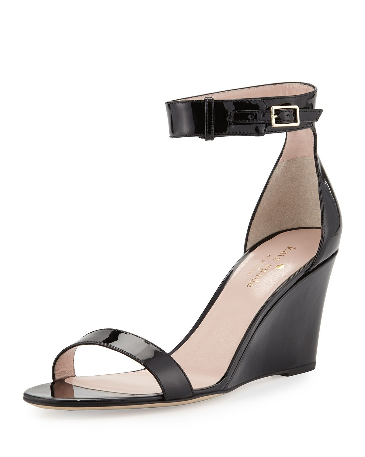 Black sandals with straps - Ronia Naked Wedge Sandal Black Kate Spade New York