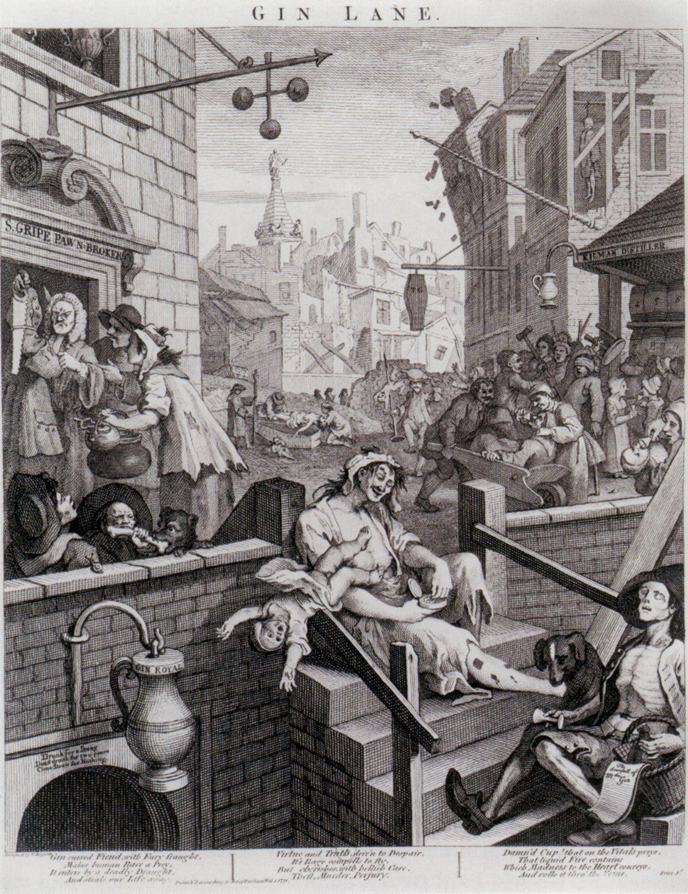 Hogarth Gin Lane And Beer Street William Hogarth Cartoon