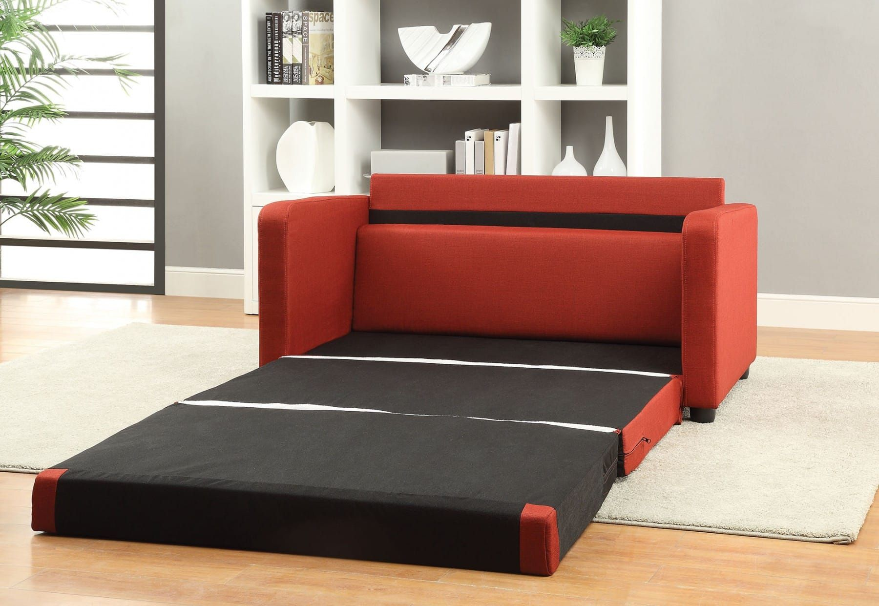 Red Sofa Bed Home Interior Design Ideas in 2020