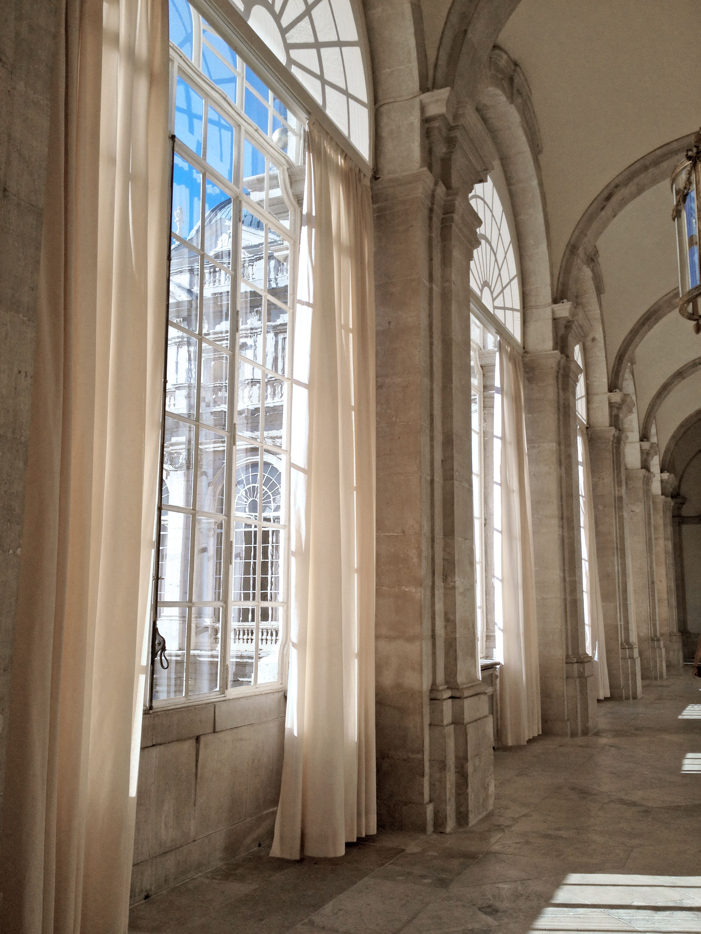 3 window bedroom curtains  i love the long white curtains at the big windows in palacio real in