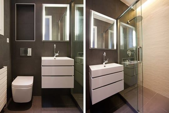 Une salle d\u0027eau toute en volumes Salle de bain Pinterest