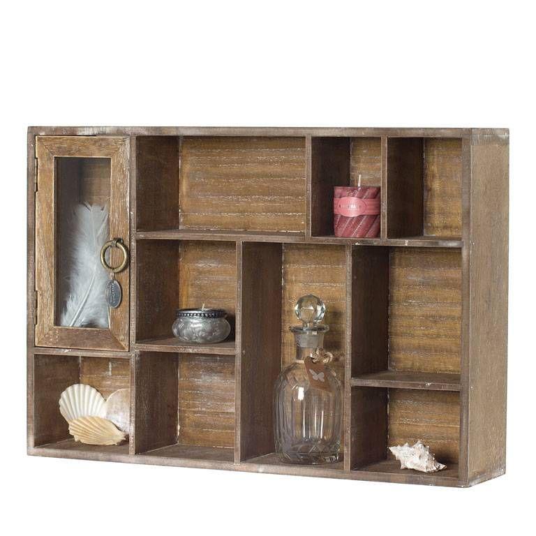 Dit wandkastje is gemaakt van hout en heeft een naturel kleur. Het wandkastje is 50 cm breed, 11 cm diep en 35 cm hoog.