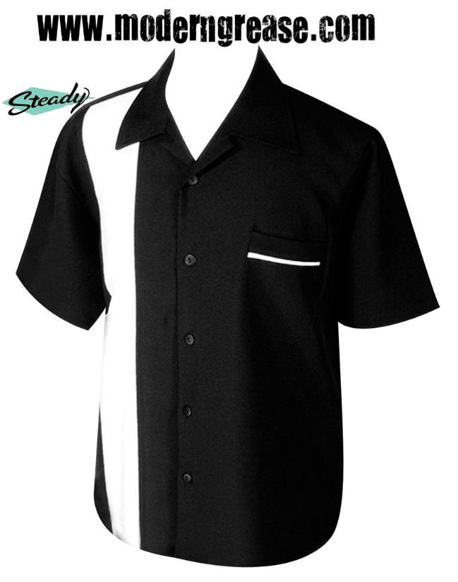 33466cf222db Modern Grease Clothing and Accessories Co. - Black Poplin White Single  Panel Mens Button Up