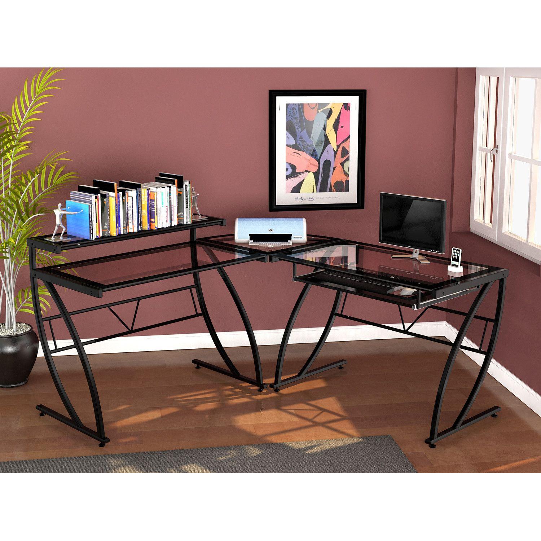 Z Line Designs Chandler Glass L Desk L Shaped Desk Glass Desk