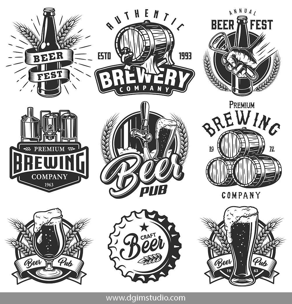 Beer templates. Set 1 Beer logo design, Brewery logos