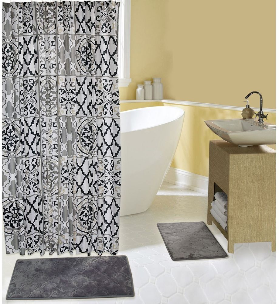 Grey and black geometric shower curtain x inches and grey