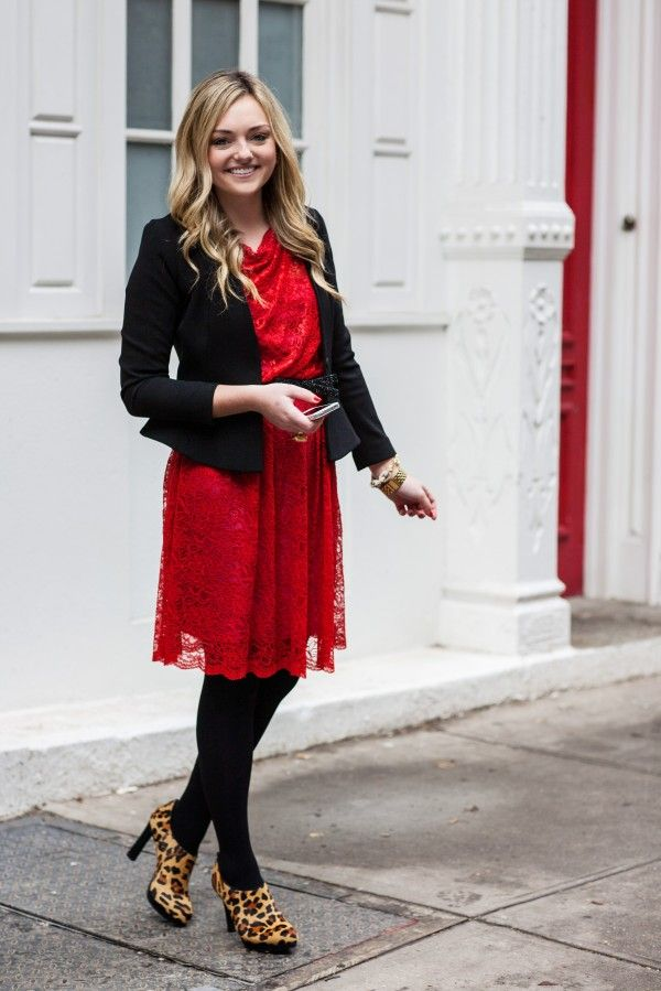Red Lace Dress With Black Tights Blazer Fashion 3