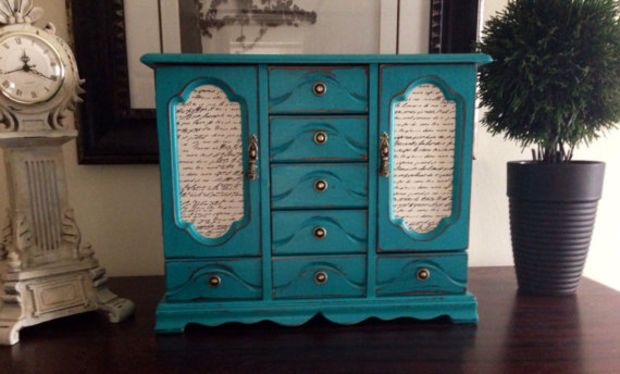 Vintage Large Hand Painted And Decoupaged Jewelry Box Aqua Distressed