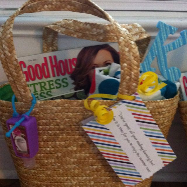 """Teacher Appreciation Week/ End of the school year gifts!!! Cute small beach bags from target filled with beach towel, sunscreen,aloe, lip therapy, bottled water, and magazine.  Note says: """"you've spent all year making learning fun, now it's time to soak up the summer sun!"""""""