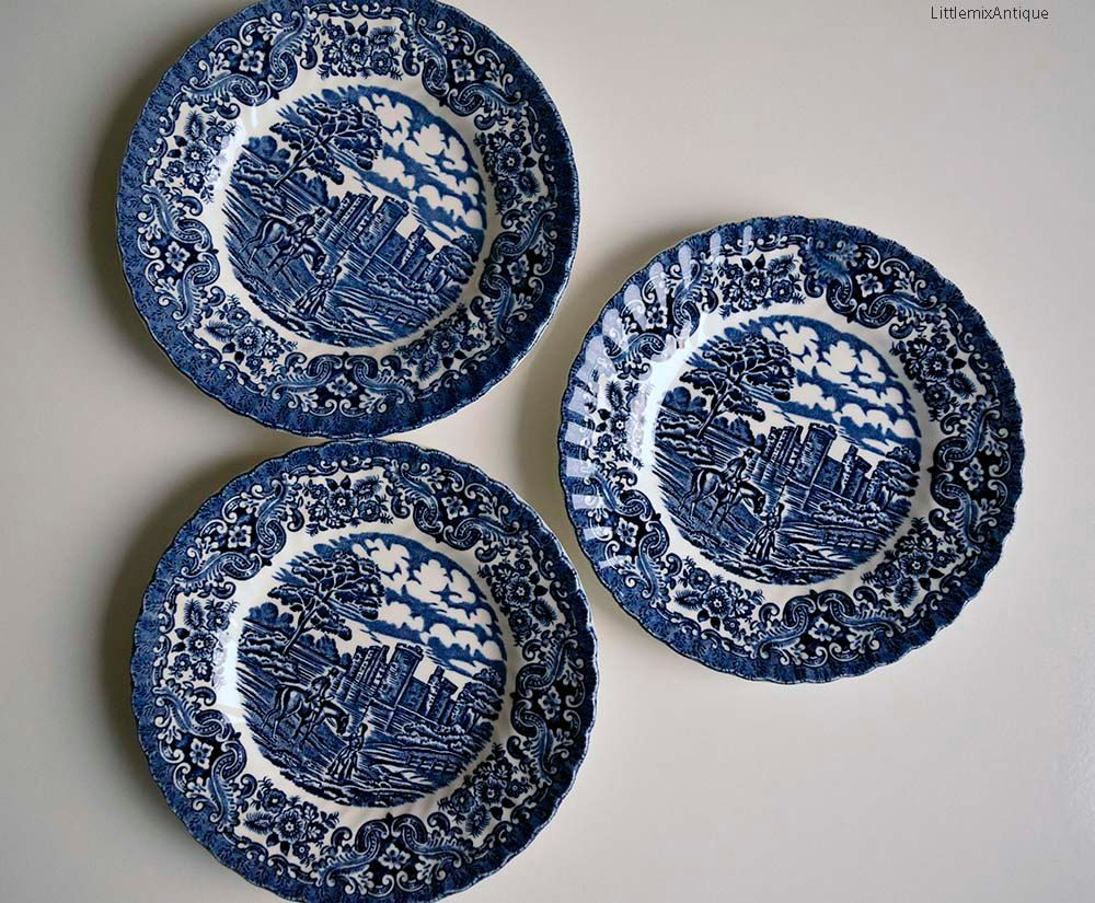 Set of 3 Vintage Hostess Tableware Made in England \u0027Olde Country Castles\u0027 design Blue and White English Ironstone Side/Cake Plates & Set of 3 Vintage Hostess Tableware Made in England \u0027Olde Country ...