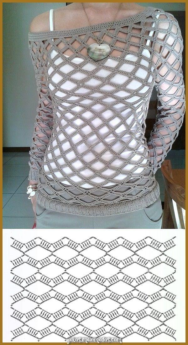 Photo of Atemberaubende Sweater Netzhäkelarbeit Más – rosa Blusenoberteile, Damen Sei…