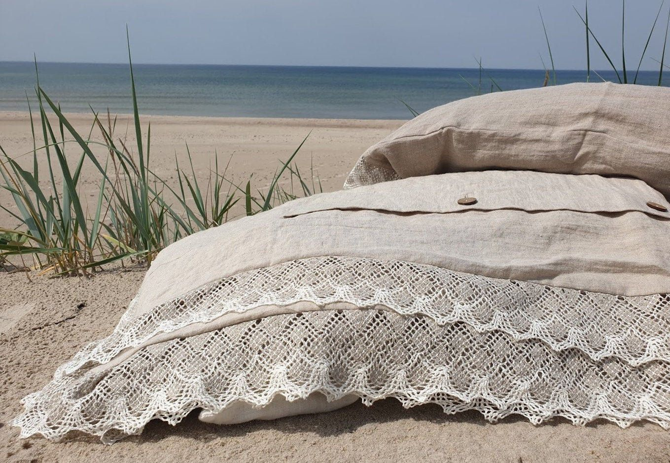 Linen Lace Bedding Set Shabby Chic In Natural Flax Or Off White