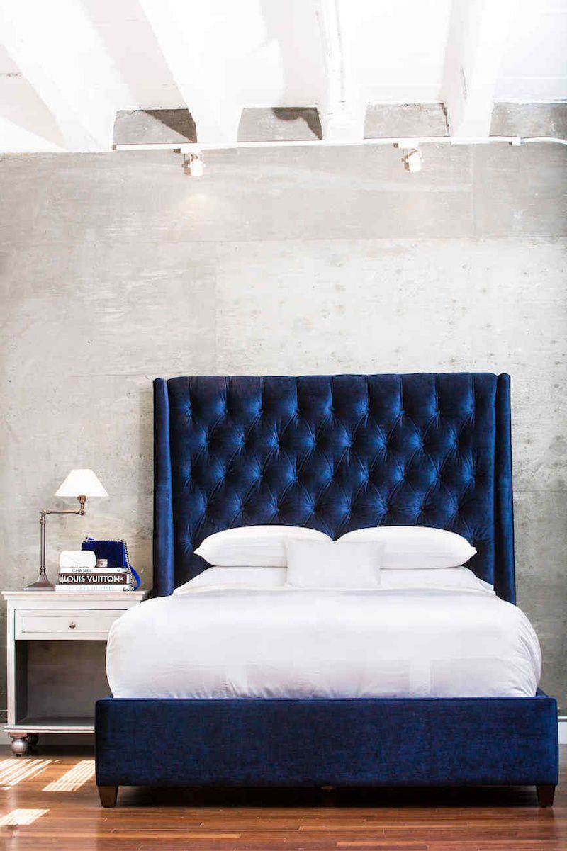 Navy Blue Velvet Bed Via Wendys Lookbook Bedroom