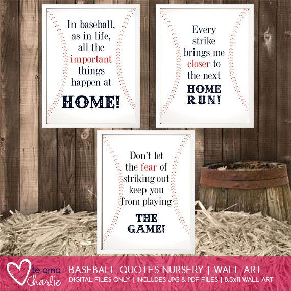 Baseball Quotes Wall Art   Baseball Nursery Decor On Etsy, $5.00