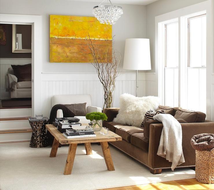 Urrutia Design Living Rooms Wainscot Brown Sofa Velvet Bling Chandelier Rustic Coffee Table Www Urrutiadesign