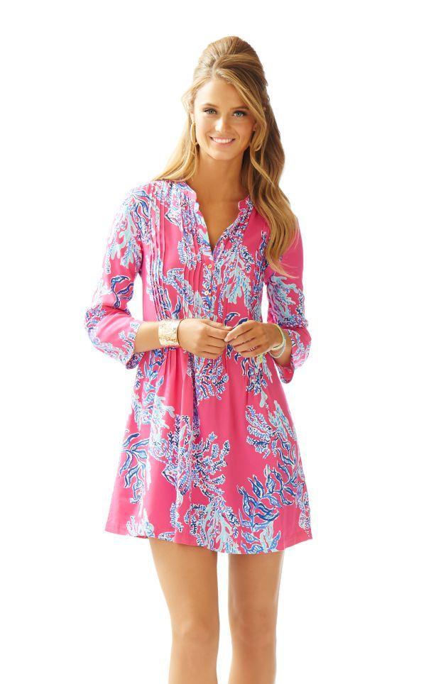 d2ba5fe35b2 Sarasota Pintuck Tunic Dress - Lilly Pulitzer Capri Pink Samba