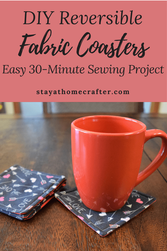 DIY Easy Reversible Fabric Coasters - stay-at-home crafter