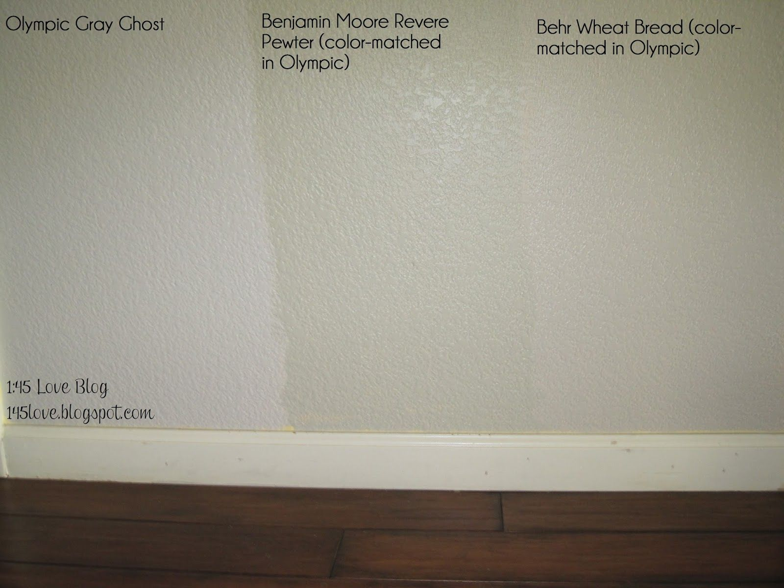 Greige paint wall swatches: Olympic Gray Ghost, Benjamin Moore Revere Pewter, Behr Wheat Bread ...