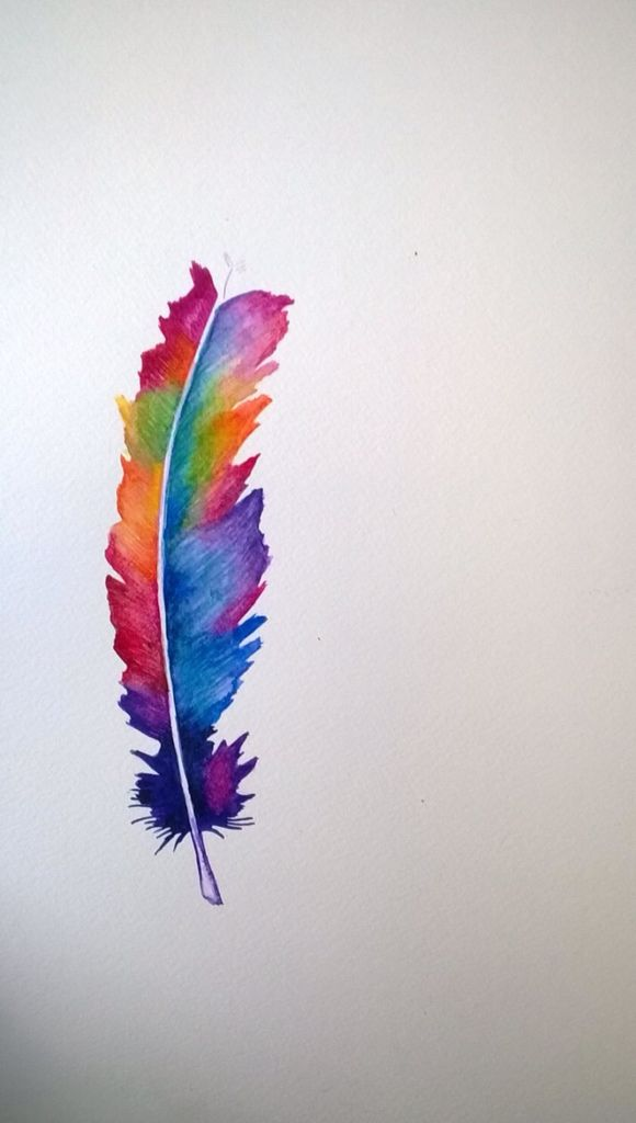 Cool colourful feather painting | Marca páginas. en 2018 | Pinterest ...